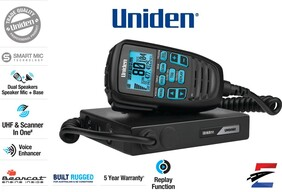 Uniden UH9080 Mini Compact UHF CB Mobile with Remote Speaker with Large LCD with Smart Mic & Scanner